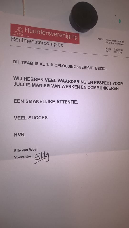 Complimenten voor onze collega's op het Rentmeestercomplex in Nijmegen.