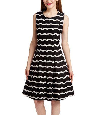 Look at this #zulilyfind! Black & White Wave-Stripe A-Line Dress #zulilyfinds