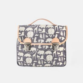 Gray canvas satchel with animal print by Fanny & Alexander