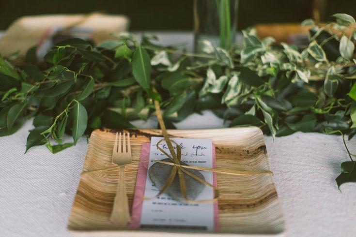 DIY wedding table settings, areca palm plates and birch forks #DIYwedding #hawaiiwedding #bohowedding Photo By Meg Courtney ~ Photographer