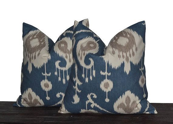 10 Sizes Available - Yacht Blue Ikat Pillow Set - Neutral Pillow Covers - Blue, tan, Cream and Light Grey - TWO PILLOW COVERS