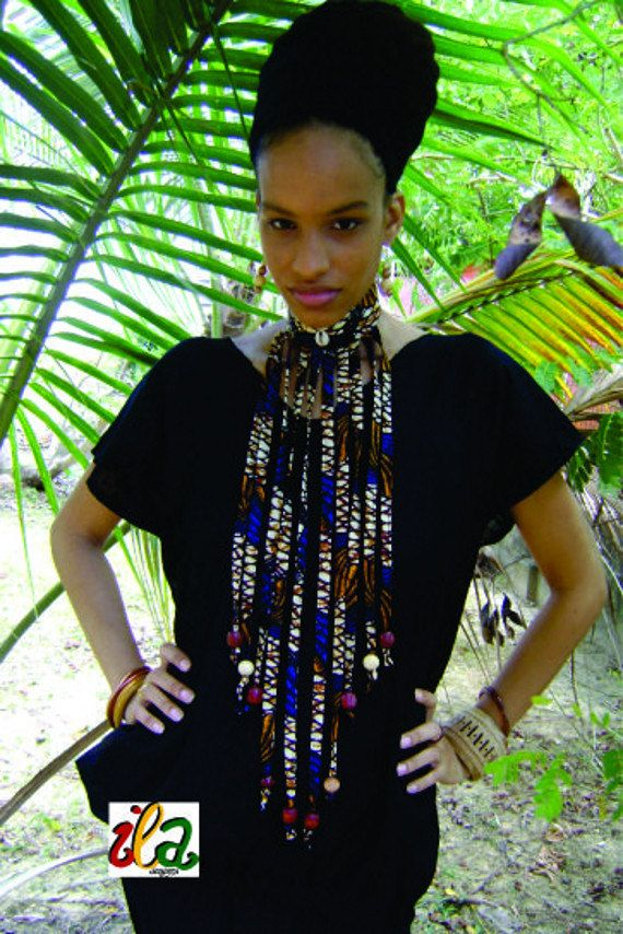 Blue Shell Ankara Fabric Beaded Collar Fringe by iladesigns, $30.00