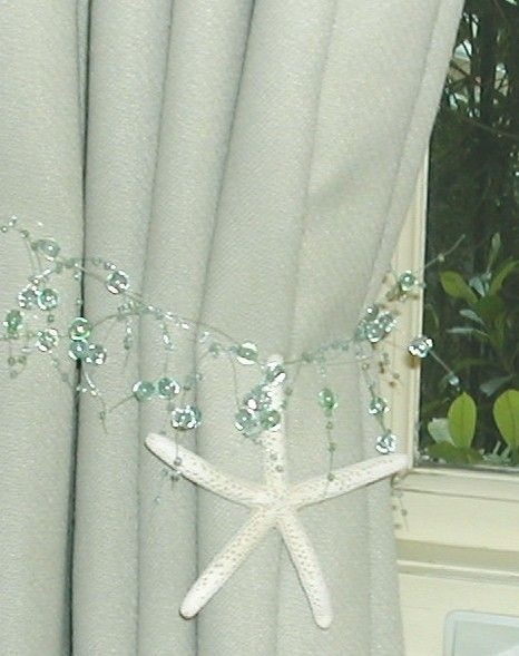 Beach Decor - 2 Curtain Tiebacks with Starfish
