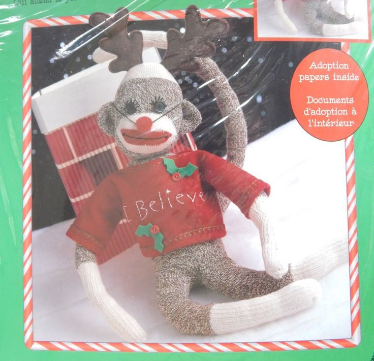 Dressup your Sock Monkey Kit/ Lesure Arts Rudy 46300/ Adoption Papers Included/ christmas, decoration, stuffed/ Not Sealed Will need Sock by RedWickerBasket on Etsy