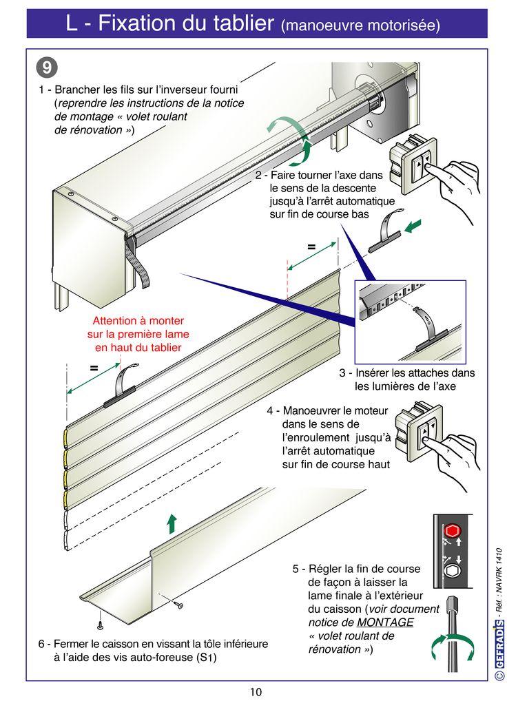 Page 10. Cette notice vous explique comment poser votre volet roulant en kit vous-même.  Prix d'usine sur Gefradis.fr.