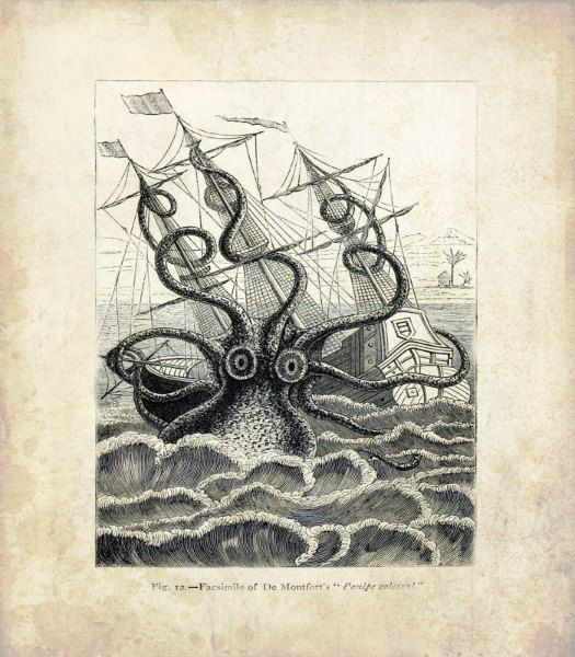 "Vintage Sea Monster Print 'Colossal Squid"" Antique Mythological Print - Nautical Sailor Pirate Ship"