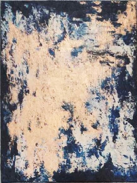 Latest copper abstract painting a part of my shimmer series, by Suzanna Denes