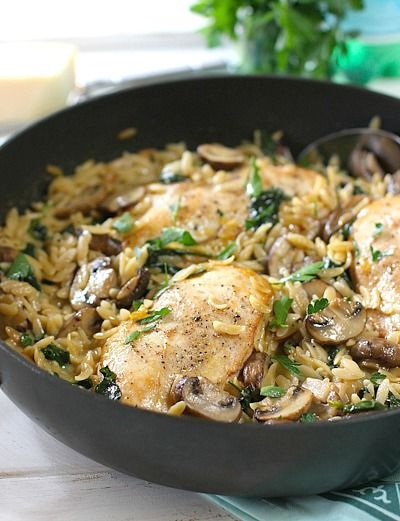 Creamy One Skillet Chicken with Mushrooms and Orzo.  Made this and it was yummy.  Next time adding 1/2 cooking onion to sauté with garlic and orzo,