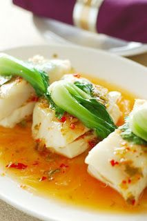Chili Soy Sauce Steamed Fish -   8 oz whitefish filets (sea bass, cod, halibut, red snapper, or tilapia are all good) ½ cup water 3 tablespoons soy sauce 2 tablespoons sesame oil 2 tablespoons thinly sliced ginger ⅓ bok choy, chopped 1 teaspoon chopped cilantro leaves 3 minced garlic cloves ½ teaspoon chili powder 1 teaspoon red pepper flakes 1 tablespoons white sugar Salt and black pepper.