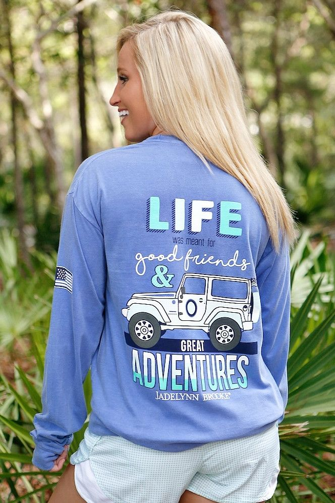 """NEW! """"Jeep Life"""" now available in poolside blue longsleeve! Get yours online at WWW.JADELYNNBROOKE.COM"""