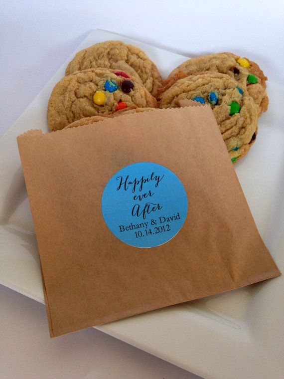 50 custom cookie bags sleeves with labels stickers for for Cookie bags for wedding