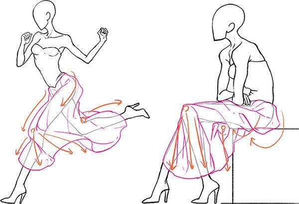 long skirt drawing references