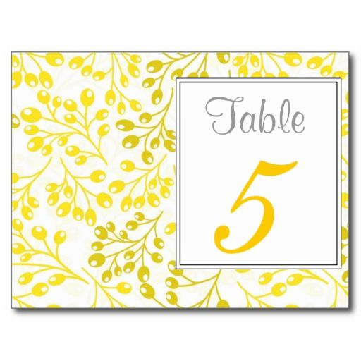 Cute yellow autumn fruits Table Number Postcard #yellow #weddinginvitations #weddings #wedding #invitations #savethedate