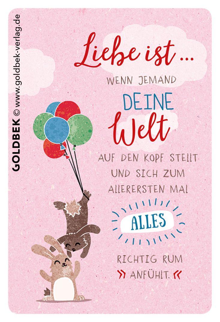 Postkarten – Liebe. Süße Illustartion. Liebe ist … wenn jemand deine Welt auf den Kopf stellt …