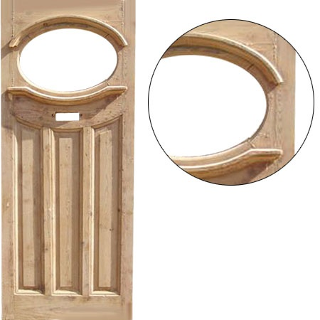 Solid Pine 1930's Style Unglazed Front Door (Stock No 000162)