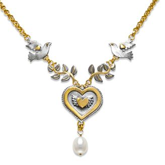 """Peace Pearl necklace.  18"""" Medium belcher chain with doves, branches & large fresh water pearl hanging from a large layered heart in silver with gold plated detail.  Sophie Harley, Beautiful Designer PMN21 from the Papillion Rose collection."""