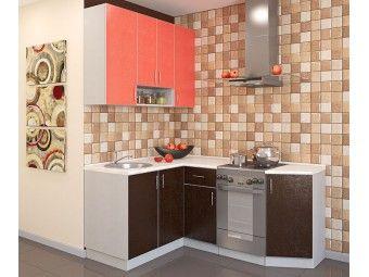 Кухня зконом с фасадом модерн коралл арабика