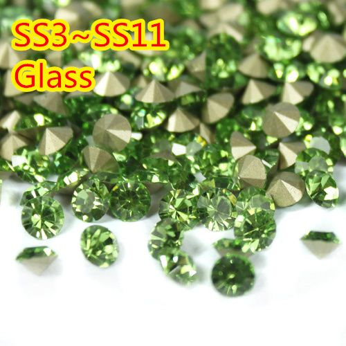 Peridot~1440pcs/pack SS3~SS8 Round Crystal loose pointback rhinestone,Glass glue on nail art rhinestones