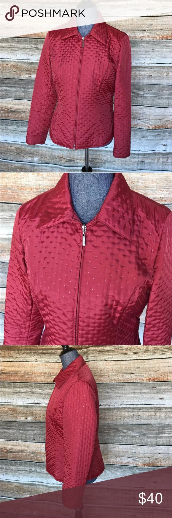 """Quilted Talbots Red dot Zip up jacket size 8 DETAILS: This is a like new Talbots polka dot Quilted red jacket as pictured.  Classy  Lightweight  Size 8  Bust line around: 38""""  Length:24""""   Smoke/Pet free home Talbots Jackets & Coats Puffers"""