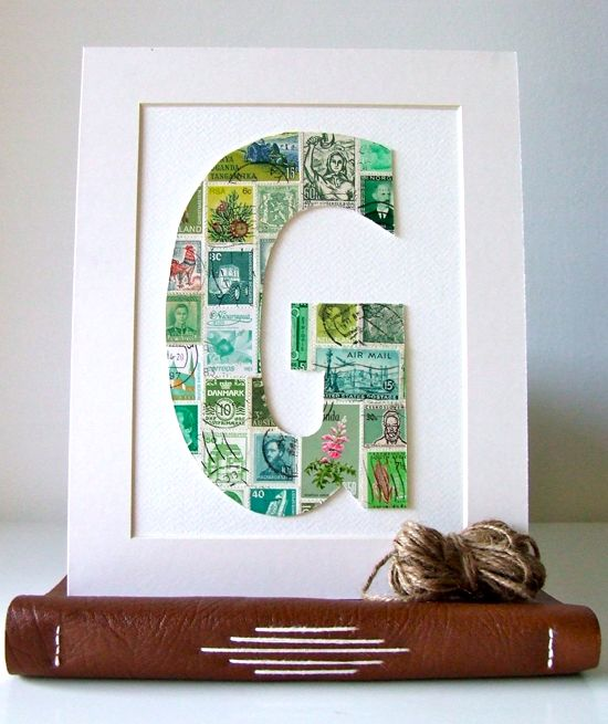 Postage Stamp Art Collage Letters