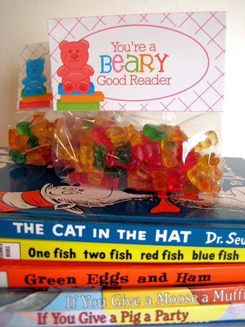 Neat treat idea for Dr. Seuss' Birthday Party.  Swap out the candy gummy bears for bear shaped graham crackers for less sugar.