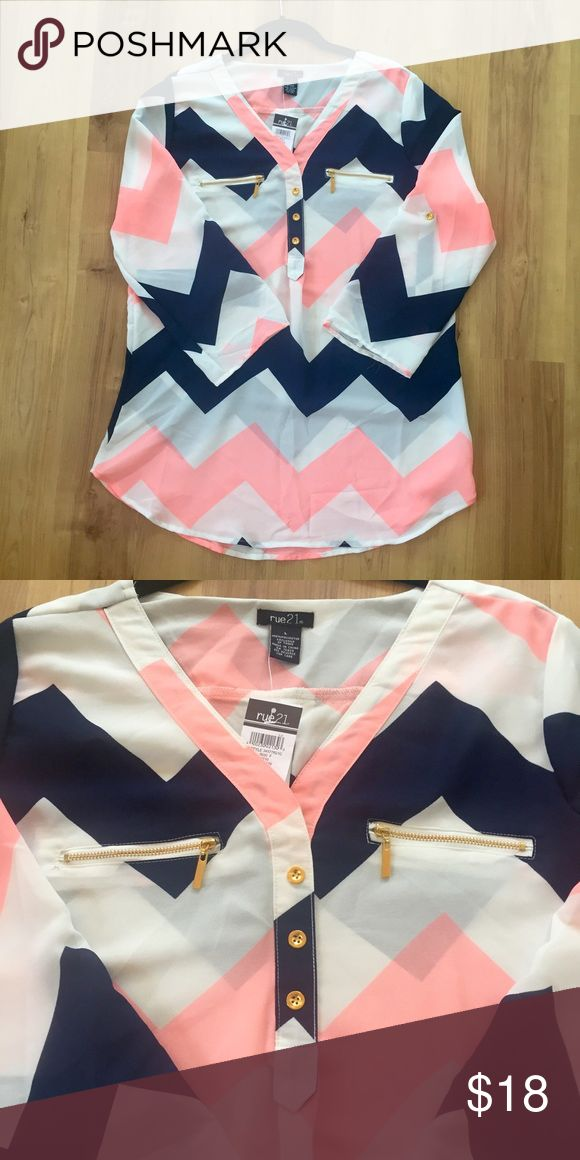 NWT Rue21 Chevron Blouse NWT Rue21 Chevron Blouse. Size Large. Sorry, no trades. Rue21 Tops Blouses