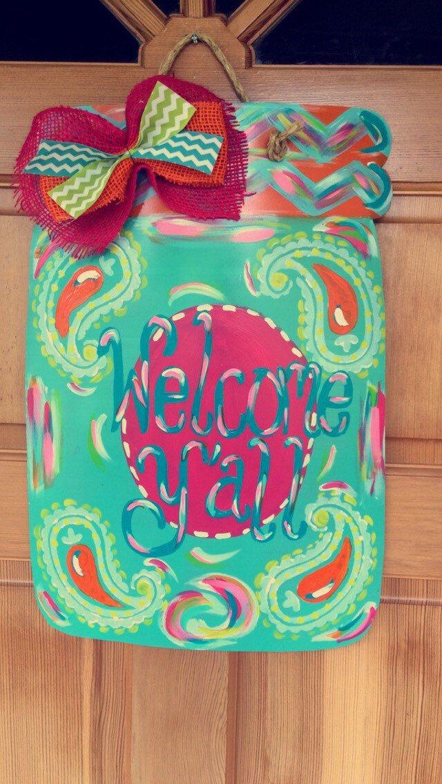 Large  Welcome Yu0027all  Pink u0026 Turquoise Metal Mason Jar Door Hanger & 120 best Painting: Mason Jars images on Pinterest | Wooden doors ... pezcame.com