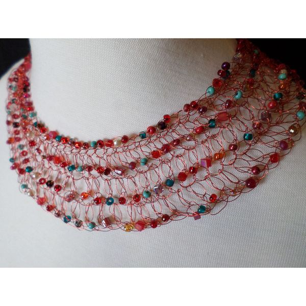 handmade statement necklace - beaded with crocheted wire - marianas $169 by String Theory Designs