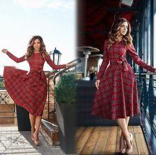 2017 новый осенний красный плед с длинным рукавом mini dress женщины о-образным вырезом Лук повседневные платья Vestidos(China (Mainland))