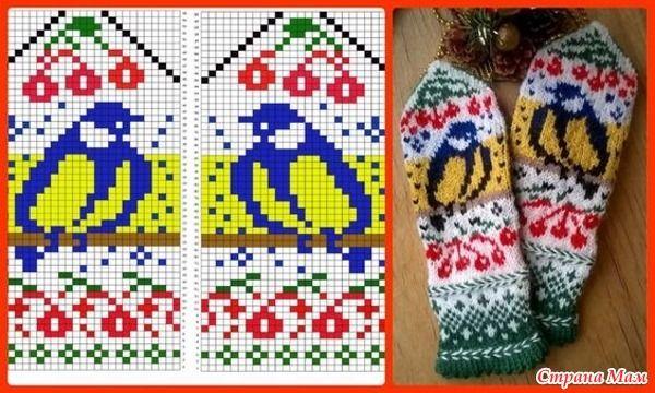 Здравствуйте! Вот подборка схем с различными птичками. Схемы небольшие, подойдут для вязания детских вещей, варежек, носков. Вязала со снегирями такой детский жилет.