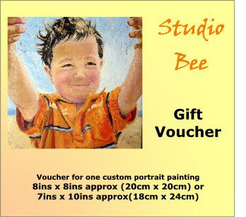 Custom portrait painting Gift Voucher Certificate oil by StudioBee (Art & Collectibles, Painting, original painting, portrait from photo, custom portrait, oil on canvas, gift certificate, child portrait, grandparents gift, Christmas, last minute gift, gift voucher, painting from photo, wedding present, retirement gift)