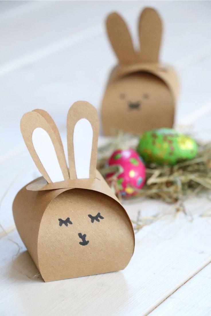 Ostern-DIY: Hasen-Geschenkschachtel basteln