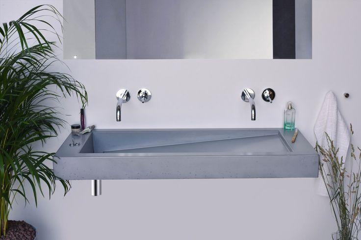 Concrete washbasin Gravelli Slant 03 Double in grey variant.