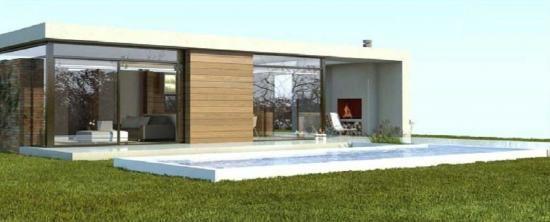Casa modular con piscina construida por casasdemaderaymas - Casas prefabricadas baratas en galicia ...