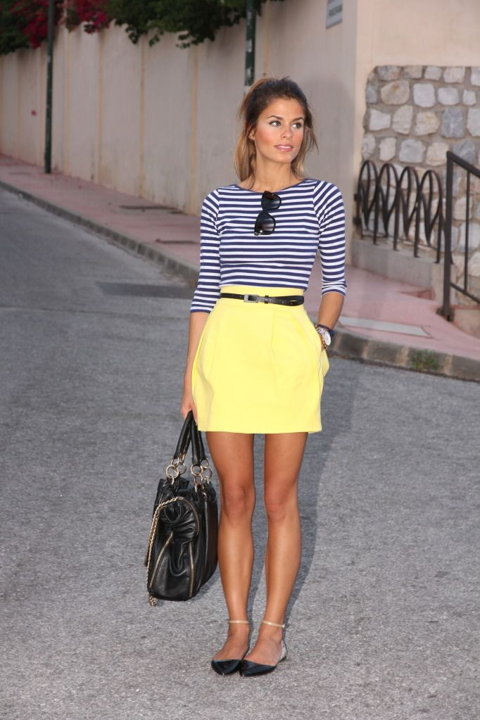 : Shoes, Colors Combos, Style, Navy Stripes, Clothing, Yellow Skirts, Stripes Tops, Stripes Shirts, Summer Outfits