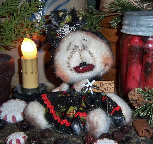"Primitive Frosty Raggedy Ann Christmas 4"" Snowman Doll Vtg Patti's Ratties Bear  For ordering information contact me at pattisratties3d@yahoo.com"