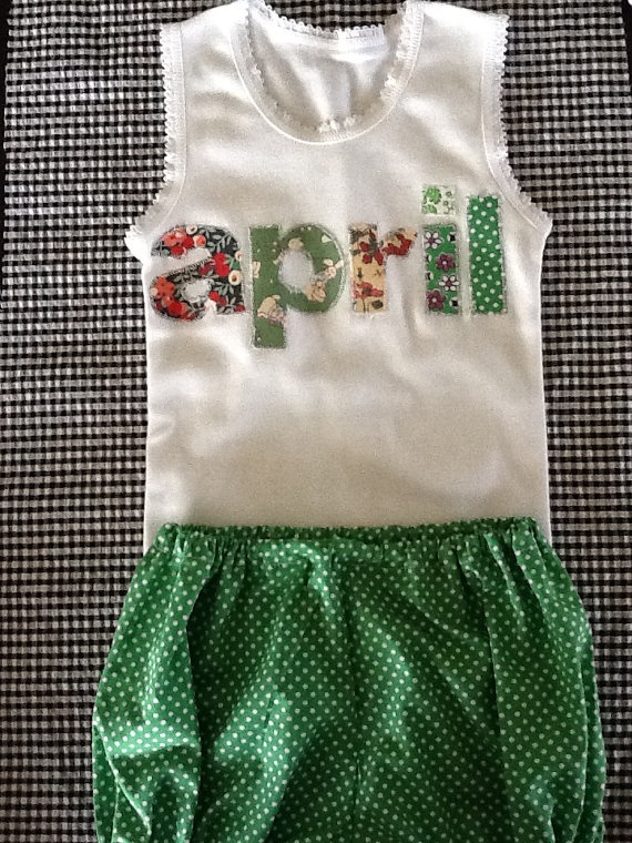 Baby's pastel name on singlet and matching by HaroldandWinnie, $32.00