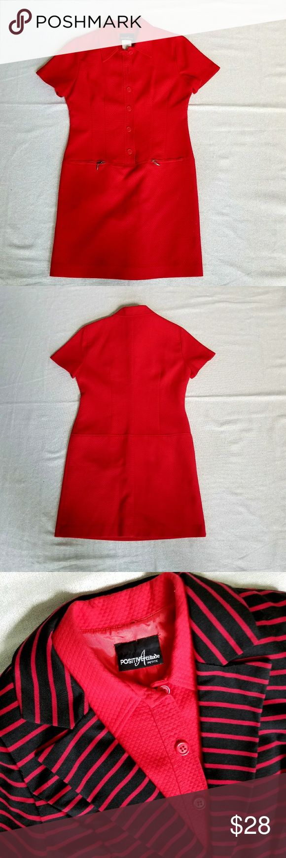 POSITIVE ATTITUDE PETITES Smart career dress by Positive Attitude Petites in red will have you looking put together all day long. Wonderful wear, travels well, minimal wrinkling, if any. EUC. Positive Attitude Dresses