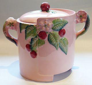 Carlton Ware, pink Raspberry biscuit barrel/ cookie jar! So cute!