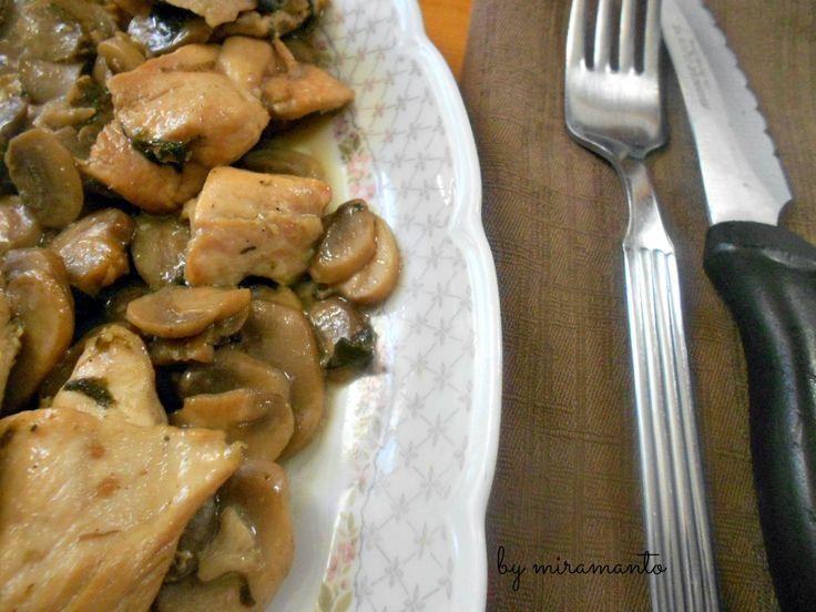 Bocconcini+di+pollo+e+funghi+con+e+senza+bimby/Dieta+Consapevole