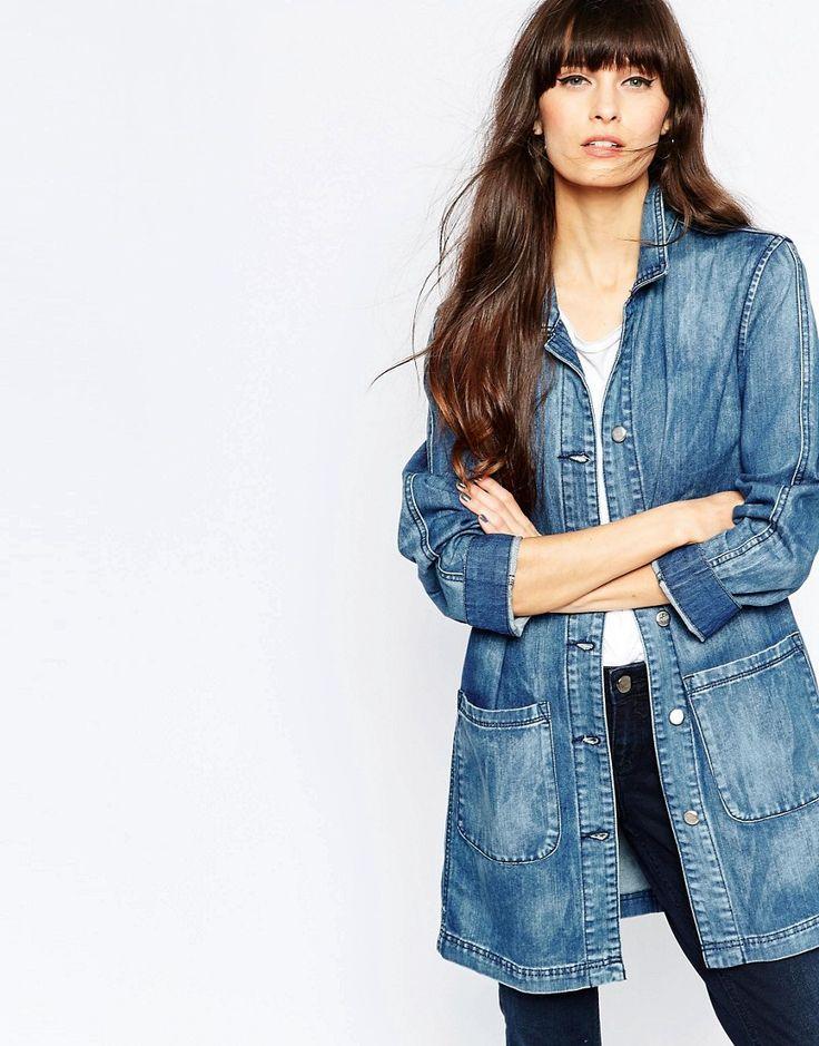 Cool Selected Jane Longline Denim Jacket - Mid blue denim Selected Denim Jakker til Damer i lækker kvalitet