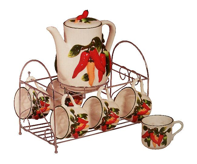 Chili Pepper Decor | Chilie Pepper 7 Pc Ceramic Tea Set With Iron Rack ,
