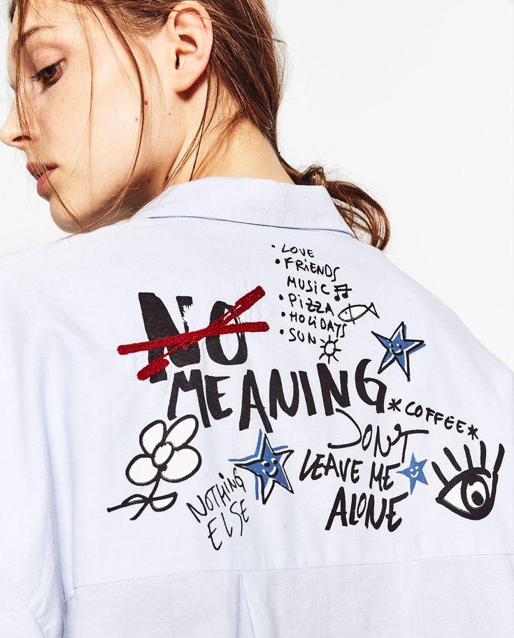 #Statement #Shirts: #roupas que #dizem #muito #sobre #si! | #zara #CAMISA #POPELINA #BOLSO E #TEXTO #DETALHE #NoMeaning