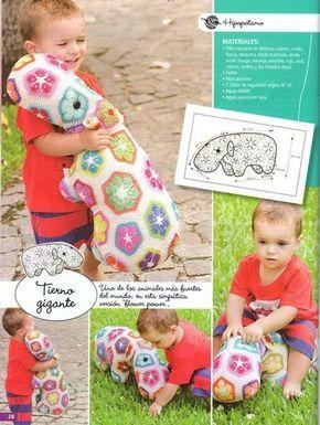PATRONES GRATIS DE CROCHET: Patrón gratis crochet de un precioso hipopótamo realizado con flores africanas