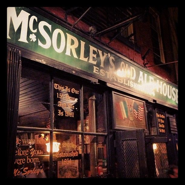 McSorley's Old Ale House in New York, NY is America's oldest continually-run bar.  A Tammany Hall hangout, prohibition simply did not apply here. Women were not allowed in till the mid '70s. The menu does not change and they only have one choce of beverage (lite or dark).  It is, hands down, the BEST BEER IN AMERICA, and you will find yourself guzzling from the old, heavy 8oz mugs for hours on end.
