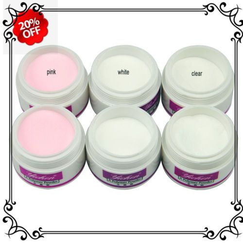 6PC-Acrylic-Powder-Nail-Art-Builder-Manicure-Clear-Pink-White-Liquid-Tips