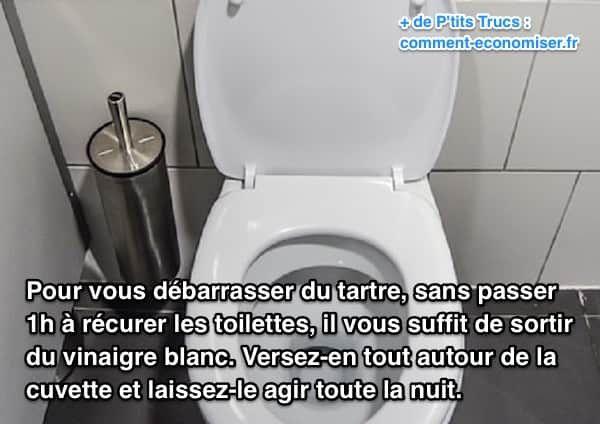 Pour vous débarrasser du tartre, sans passer une heure à récurer les toilettes, il vous suffit de sortir du vinaigre blanc. Regardez :-)  Découvrez l'astuce ici : http://www.comment-economiser.fr/detartrer-wc.html?utm_content=bufferab25a&utm_medium=social&utm_source=pinterest.com&utm_campaign=buffer