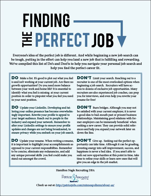 Finding the perfect job can be tough!  Here are some Do's and Don'ts which can help you navigate your career search.