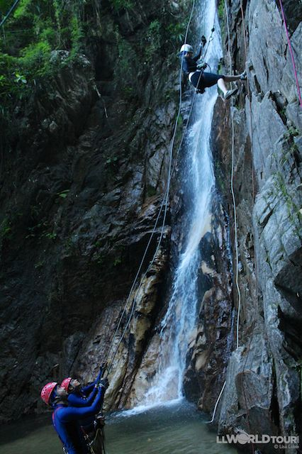 Repelling down a sheer rock face next to a waterfall in the Sierra Madre mountain range near the western coast of Mexico with Puerto Vallarta Adventures. http://www.llworldtour.com/tours-in-puerto-vallarta/