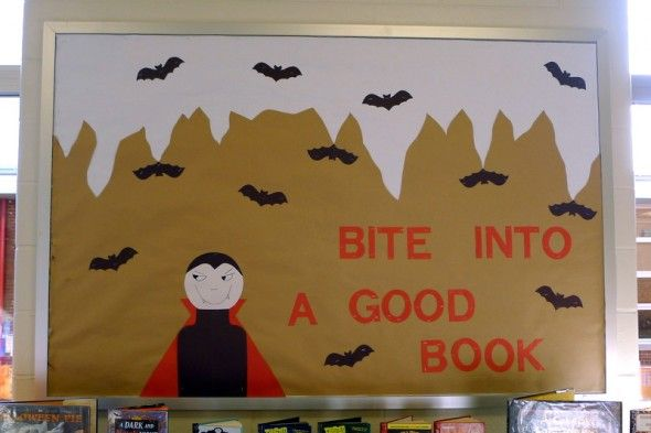 The Halloween bulletin board I designed this year for the library.